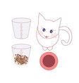 measure food with glass before giving cat vector image