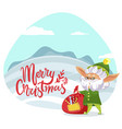 merry christmas greeting card elf with presents vector image vector image