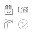 Office simple linear outline icon set