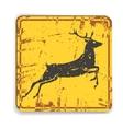 Old metal road warning sing with deer silhouette vector image vector image