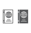 passport line and glyph icon identification and vector image vector image