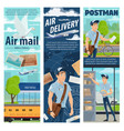 post air mail delivery service mailman profession vector image vector image