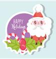 santa claus happy merry christmas tag vector image vector image