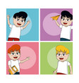 school boys cartoons vector image vector image