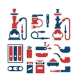 set color icons smoking equipment vector image