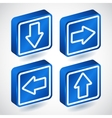 set four lighting blue buttons with arrows vector image