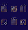 set of minimalistic linear gift boxes vector image