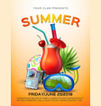 summer tropical club cocktail party poster vector image vector image