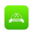 sword warrior icon green vector image vector image