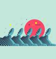 wavy background cover design template ocean sun vector image