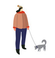winter outdoor activity woman with dog on leash vector image