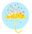 yellow umbrella and rain hearts vector image