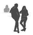 young couple waiting their turn silhouette vector image vector image