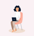young freelancer woman working remotely from home vector image vector image