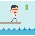 Businessman catch flying money for risk managment vector image