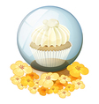 A crystal ball with a mocha-flavored cupcake vector image vector image