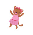 adorable humanized kitten wearing pink dress and vector image vector image