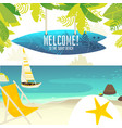 beach banner with yacht chair and surfboard sign vector image vector image