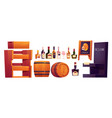 bottles with alcohol wooden shelves and barrel vector image