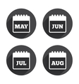 Calendar May June July and August vector image vector image