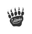californian bear paw print bear footprint with vector image vector image