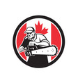 canadian tree surgeon chainsaw canada flag vector image vector image