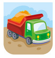 cartoon car truck with sand in back a vector image vector image