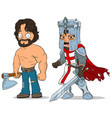 cartoon knight and lumberjack characters set vector image vector image
