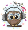 cartoon owl with headphones on a white background vector image vector image