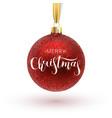 christmas greeting card red christmas ball with vector image