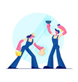 cleaning service male and female characters vector image vector image