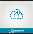 cloud house logo template vector image
