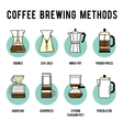 Coffee brewing methods icons set Different ways vector image vector image