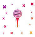 color golf ball on tee icon isolated on white vector image vector image