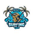 colorful logo emblem surfer on a background vector image