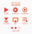 Creative concept of various play button icon set vector image