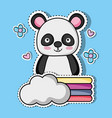 cute panda animal patch sticker vector image