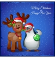 Deer cuddling with snowman on a blue background vector image vector image