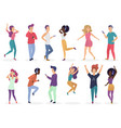 diverse people dancing and listening music with vector image