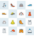 dress icons colored line set with heels hat vector image
