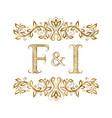 f and i vintage initials logo symbol vector image vector image