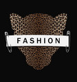 fashion t-shirt print with leopard head silhouette vector image vector image