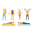 fitness training and sport exercise men and women vector image