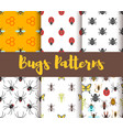 flat style set patterns with bug vector image vector image
