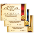 Golden certificate template set vector image