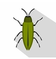 Green beetle icon flat style vector image vector image