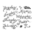 Handwritten days of the week vector image vector image