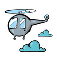 helicopter on white background cute cartoon vector image