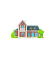 house exterior with chimney pipe balcony tree vector image vector image