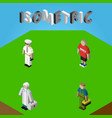 isometric people set of seaman medic plumber and vector image vector image